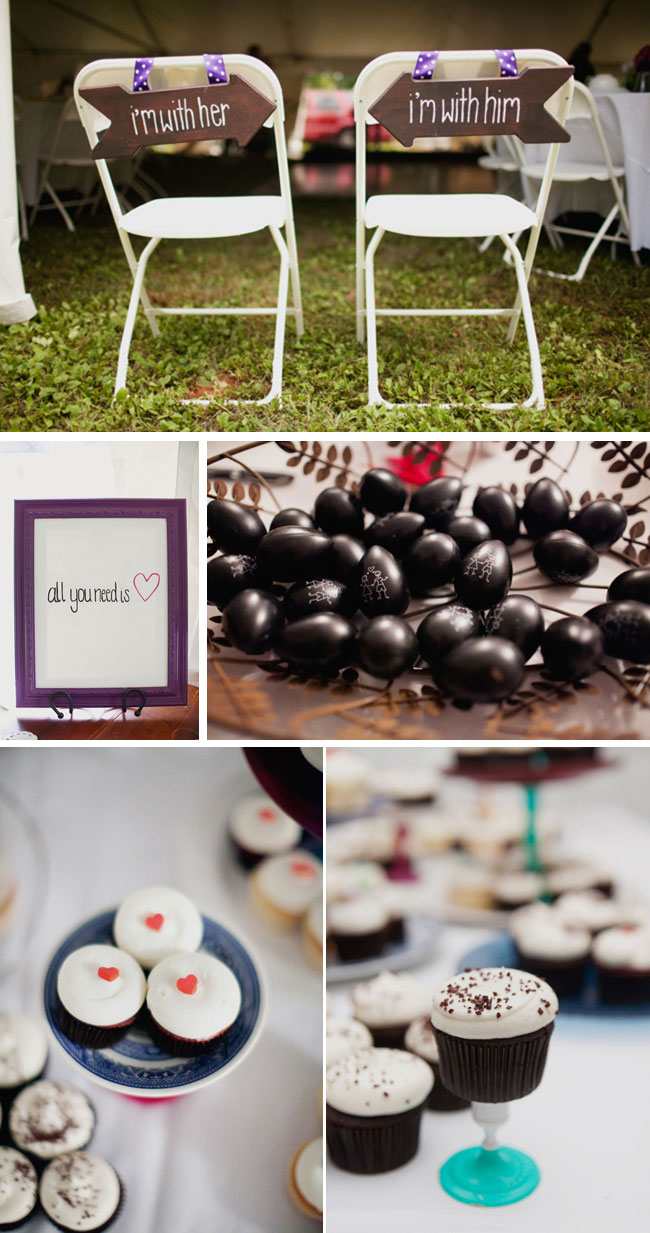 Bride and Groom seating along with wedding dessert table cupcakes