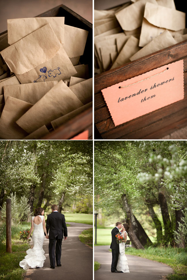 bags with lavender favors; bride and groom enjoying a walk and a kiss