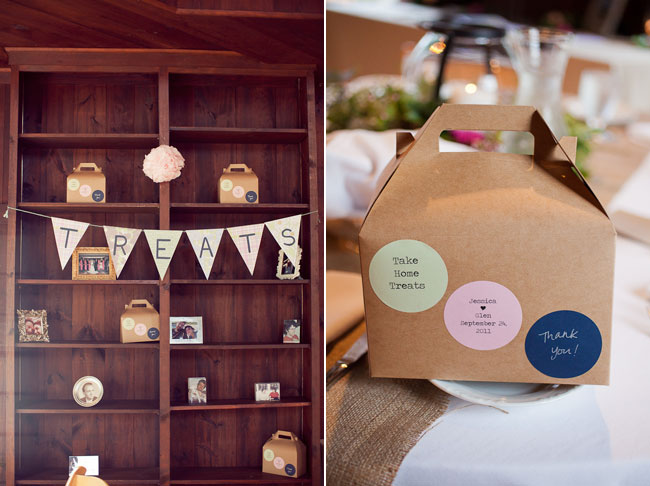 Treats bunting banner flags with kraft color box for wedding guests to take home