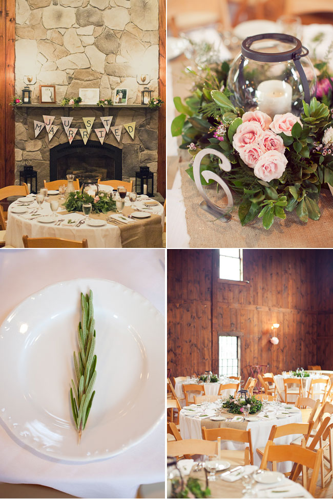 4 Photos of indoor reception decor and table setting at Mount Hope Farm in Rhode Island