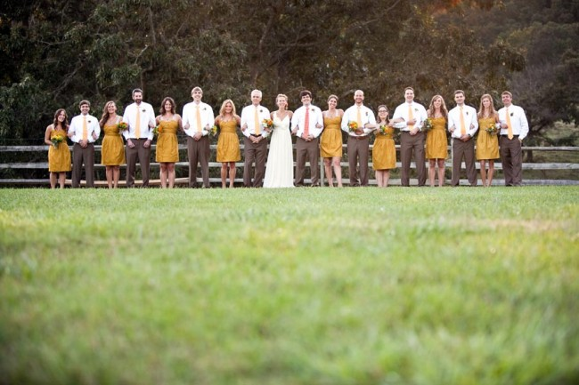 Affordable Country Wedding Bridal Pary lined up