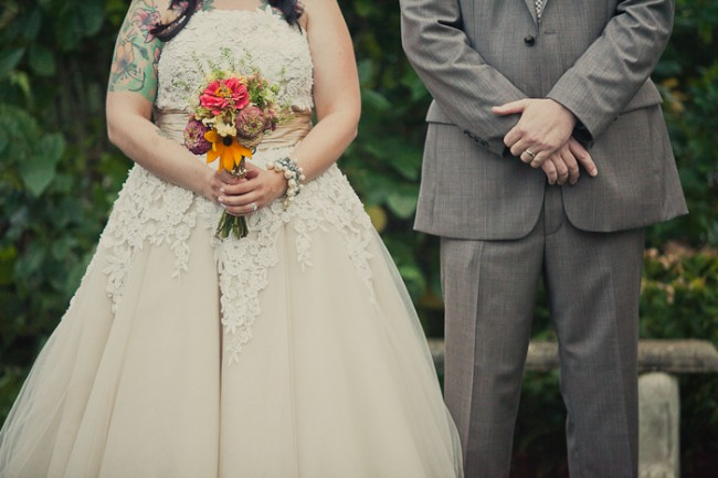 front photo of bride and groom at Mount Hope Farm wedding