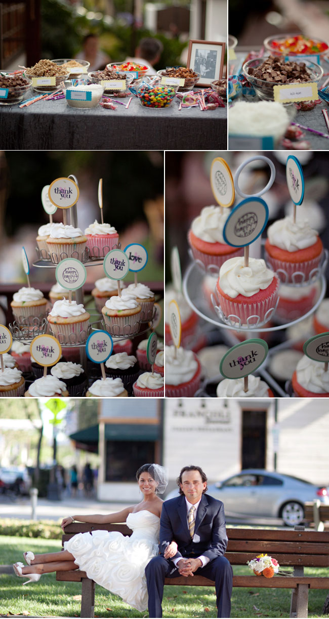 Thrifty DIY Wedding dessert table with candy and lots of yummy looking cupcakes!
