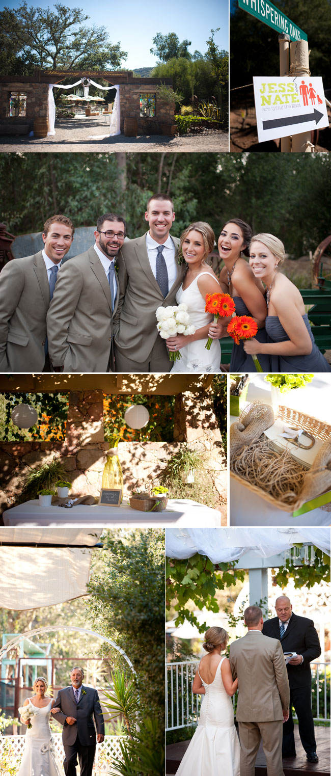 Whispering Oaks Terrace wedding photos - venue, bridal party with bright red and white flowers, ceremony and decor