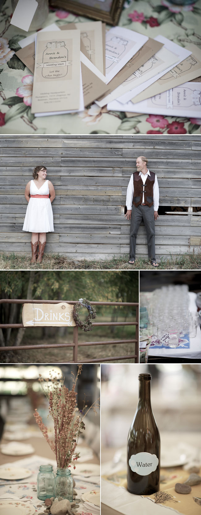 Fall wedding in Montana - bride and groom stand against wood barn, sign for drinks, mason jar and wine bottle decor