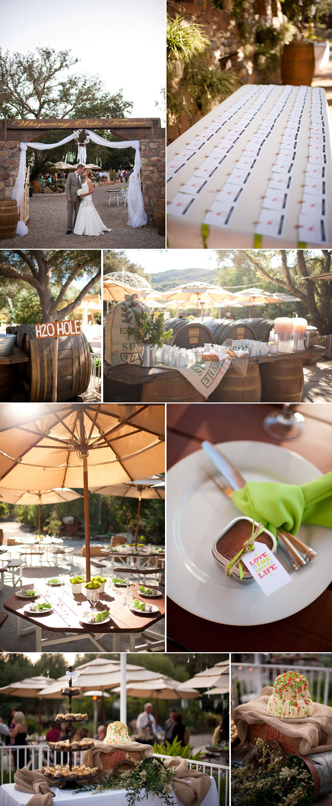 Whispering Oaks Terrace wedding photos - bride and groom kiss, wedding table setting, dessert table with burlap, wine barrels holding up drink station