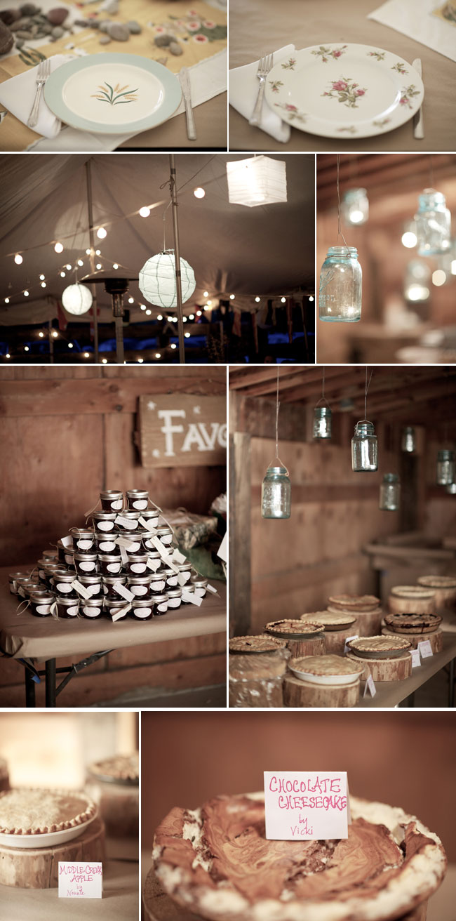 Fall wedding in Montana - light strings at night under tent, hanging mason jars, jam favors, and chocolate cheescake with other pies on dessert table