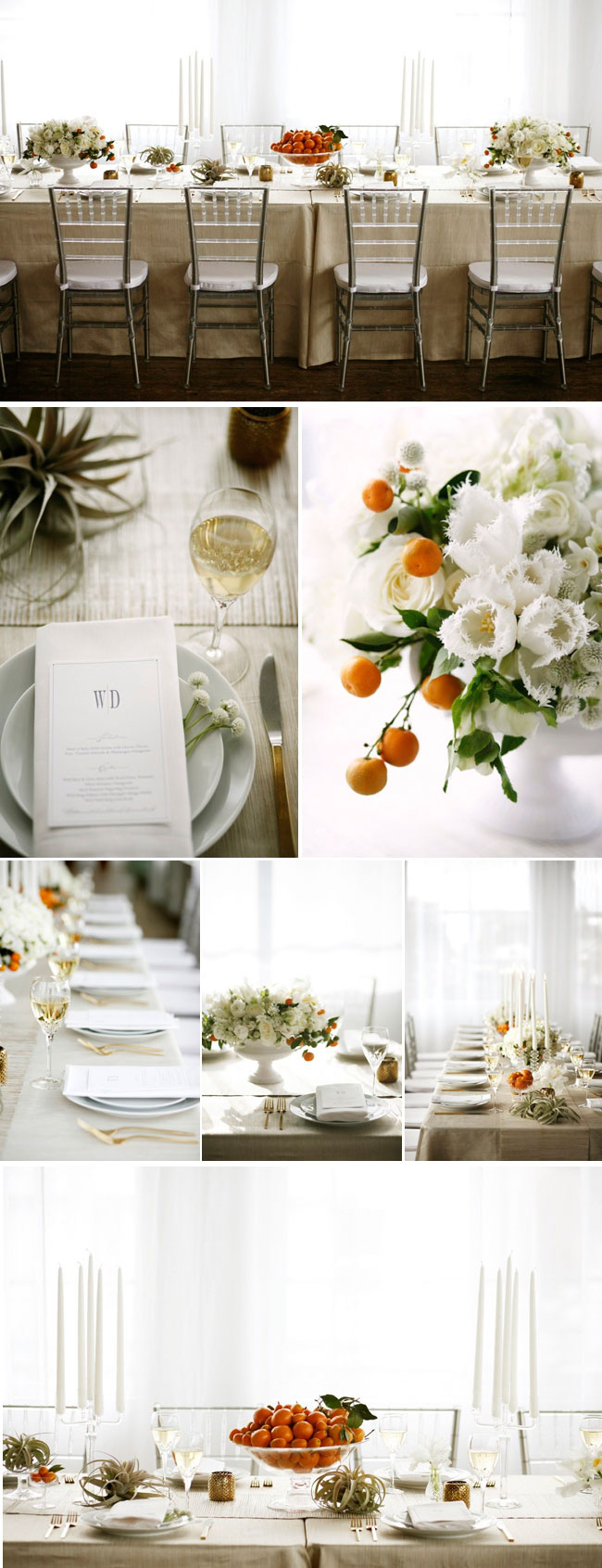 Elegant white styled shoot, with real oranges on table and in white flower arrangements