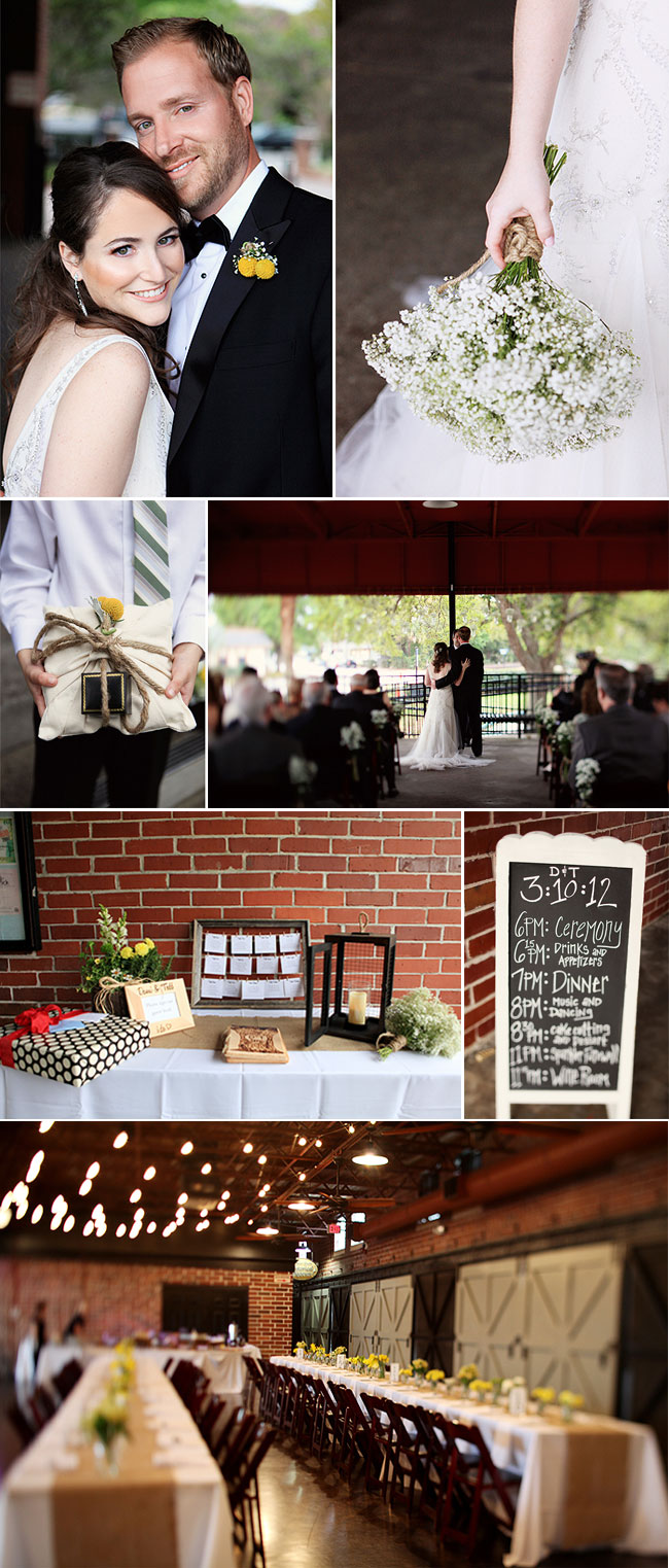 Rustic Indoor Wedding with Billy Ball boutonniere and ring pillow, indoor brick wedding reception area