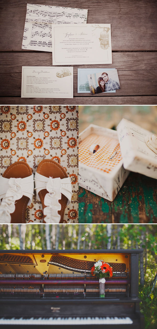 Backyard DIY Wedding invitations and piano decor