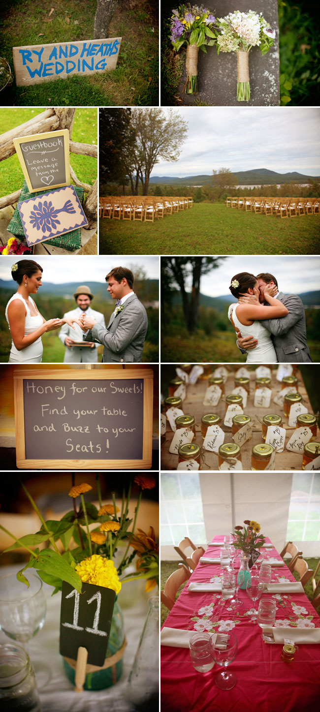 Rustic Catskill Mountain Wedding photo collage - bouquets, outdoor ceremony, honey jar favors, chalkboard sign, and table setting