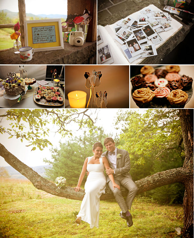 Rustic Catskill Mountain Wedding photos - cupcake desserts, polaroid photos, bride and groom sit on a tree branch together