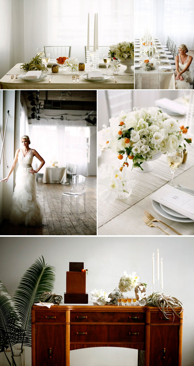 Elegant white styled shoot, with real oranges in bouquets.