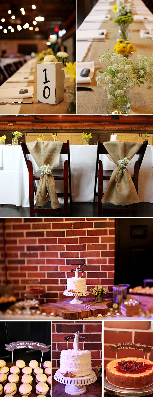 Rustic Indoor Wedding table settings, burlap sack on bride and groom chairs, dessert table