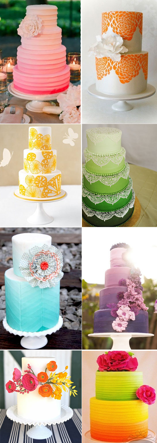Eight Rainbow Wedding Cakes