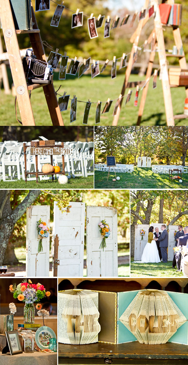 Whimsical Tennessee Wedding with pumpkins and old door backdrop
