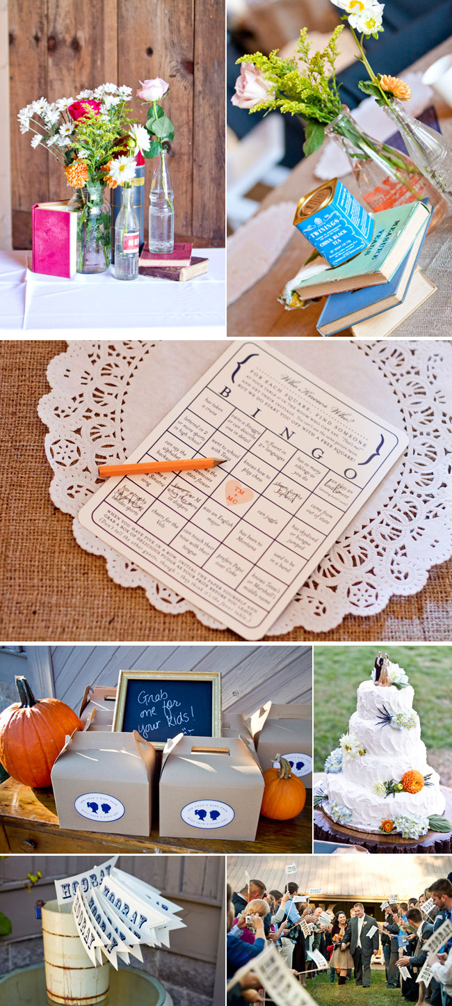 wedding details: pumpkins, bingo card, and books with flowers on table