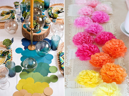 DIY Table Runners - Hole punches and tissue paper