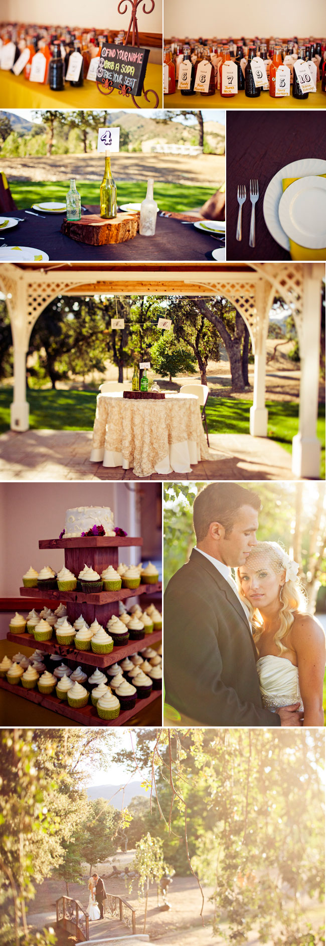 wedding at Spanish Oaks Ranch with cupcakes, gazebo, and soda bottles for seating