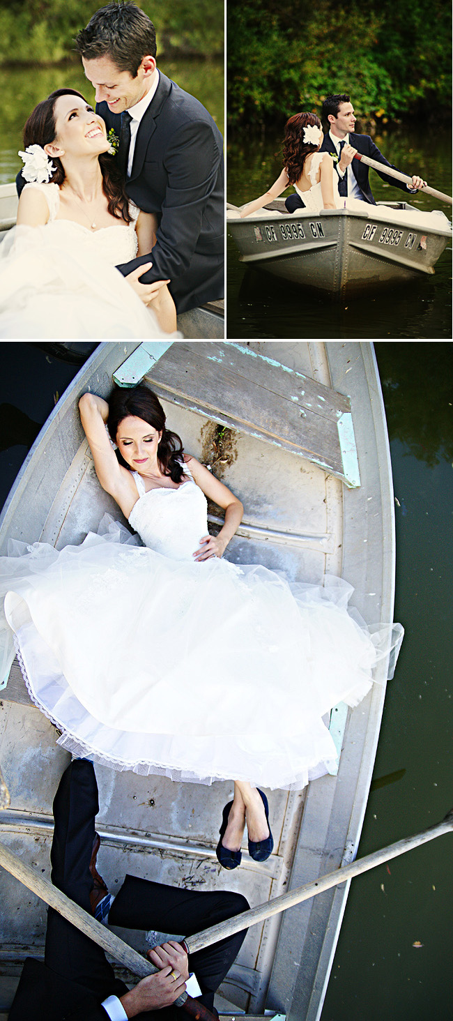 Row Boat Wedding - bride and groom