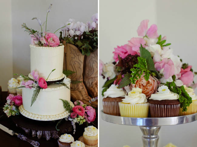 country chic wedding cake and cupcakes