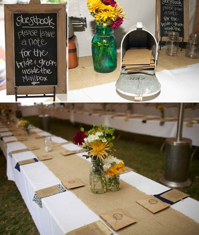 Outdoor BBQ wedding ideas - mailbox guestbook; burlap table runners: flowers in mason jars