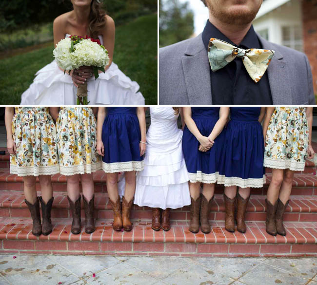 bride's bouquet handmade; groom's unique boutonniere; flowered and dark blue dresses with cowboy boots