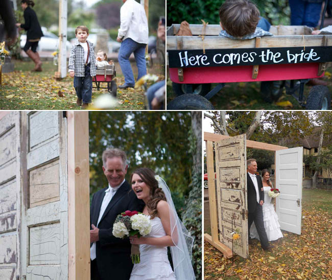 wagon sign announcing bride; bride and father walking through doors made by groom