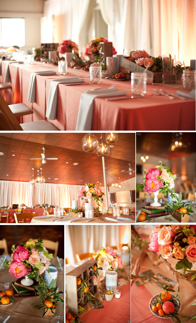 Postcard Inn wedding reception with peach tablecloths, peach and pink floral centerpieces, and real peaches on the table