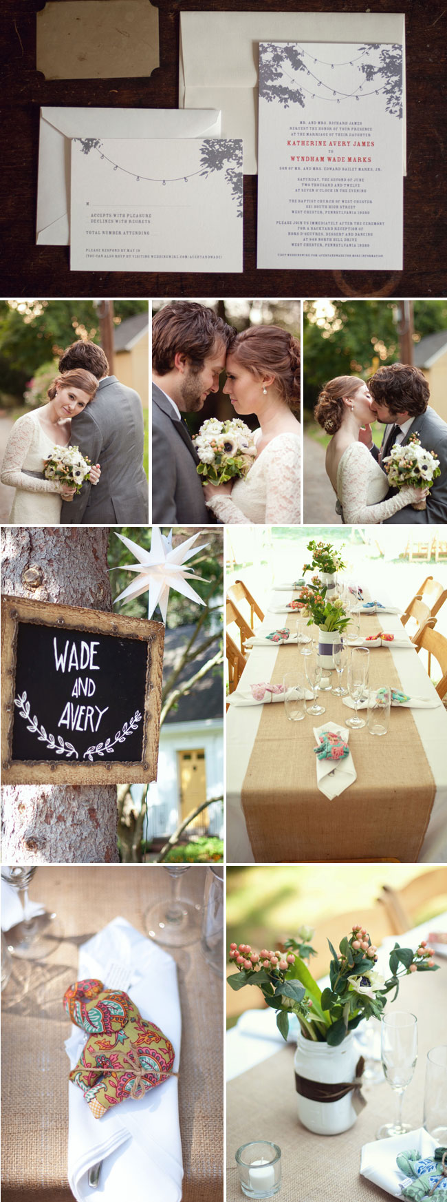 Bilbo Baggins inspired wedding: invitations with light strings from trees, bride and groom names on chalkboard, table setting with hand crafted elephant favors and flowers