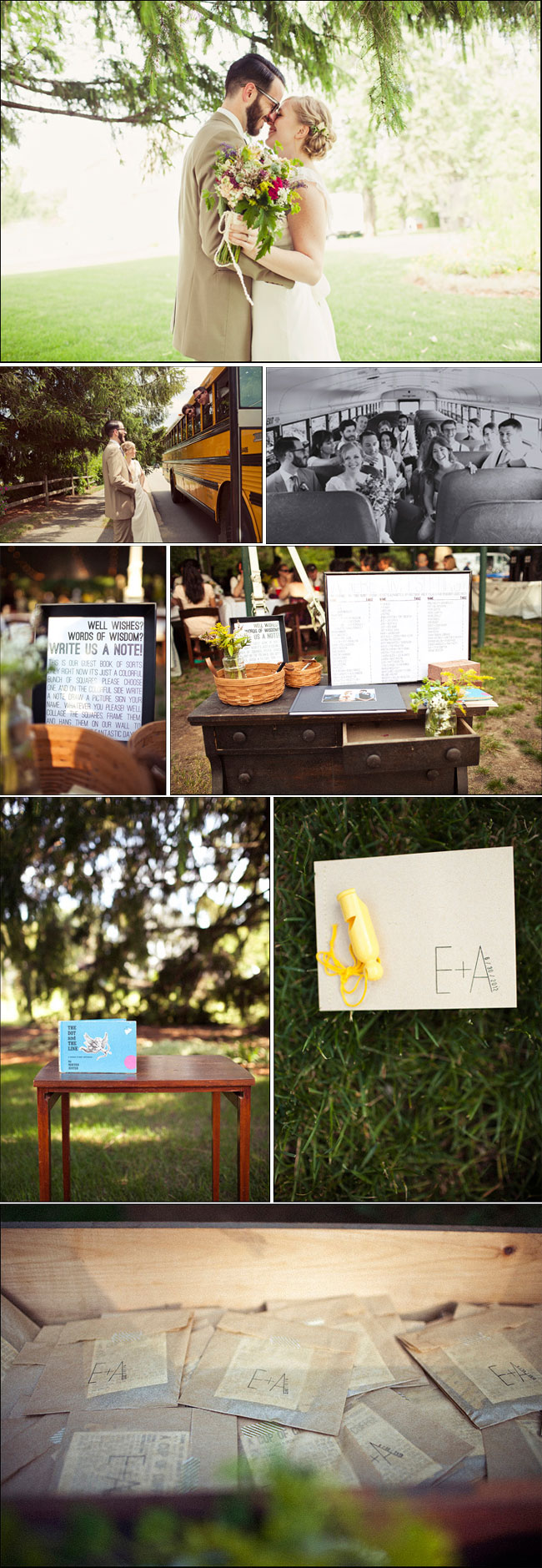 DIY Wedding in Massachusetts - bridal party on school bus, guest book signing area