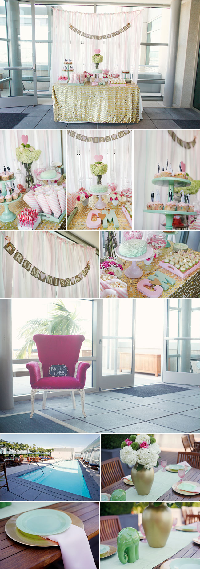 Collage of Pink Bridal Shower Photos