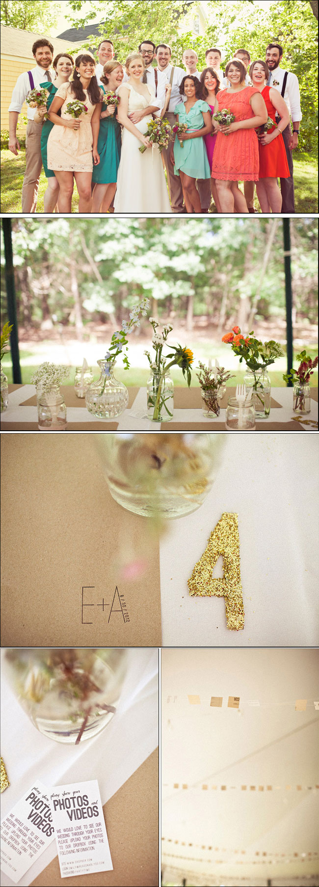 bridal party with fun color bridesmaid dresses, gold letter 4 for DIY wedding,