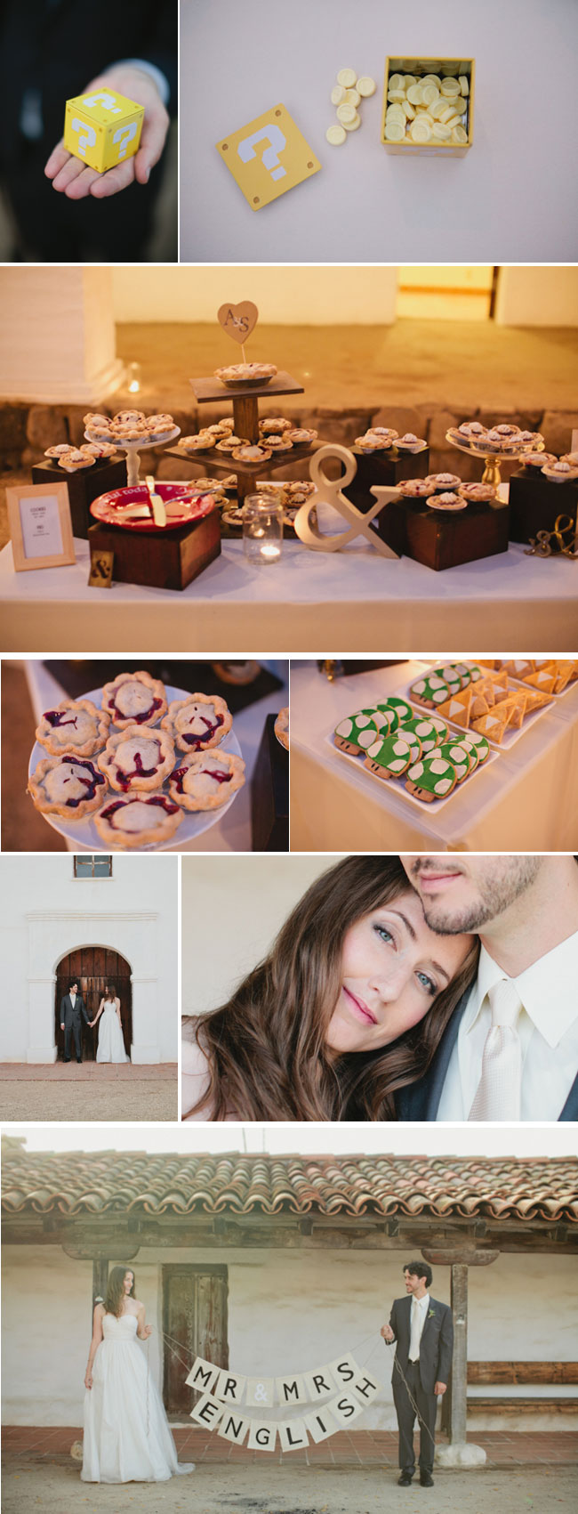 Video Game Themed Wedding - Dessert table, super mario bros cookies