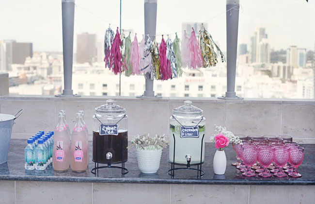 Pink Bridal Shower drinks station