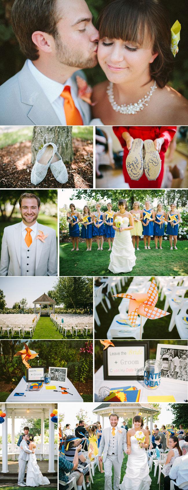 wedding at green villa gardens: bride's shoes, bridesmaids in blue, pinwheels and groom in orange tie