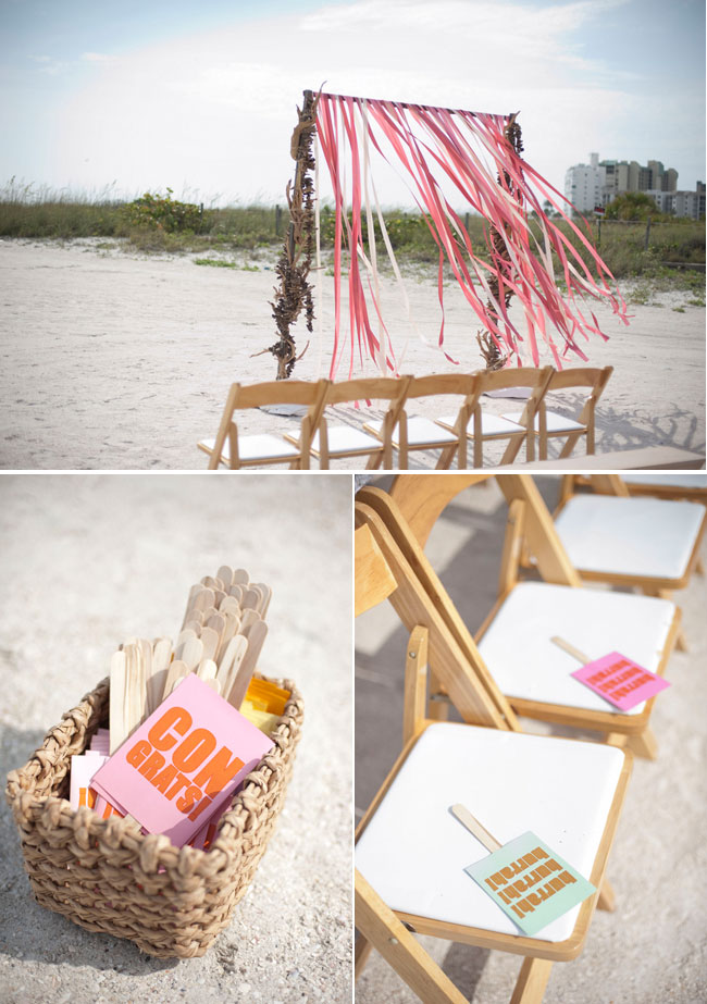 St Peach Beach wedding ceremony with pink and peach streamers on alter
