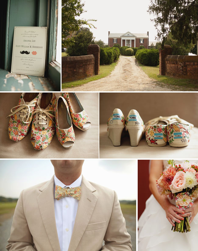 Wedding at West Manor Estate: entrance; Toms bridal shoes; groom in bowtie