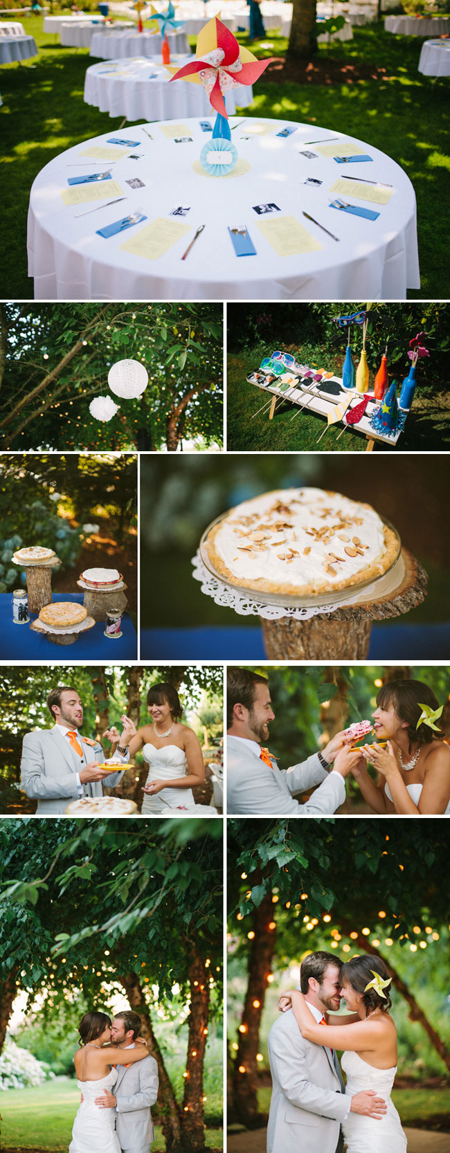 colorful pinwheel centerpiece, pies on wood logs, bride and groom eating pie
