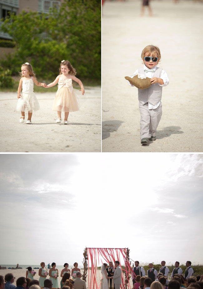 flower girls, ring bearer, and wedding ceremony on sunny St. Pete beach in Florida