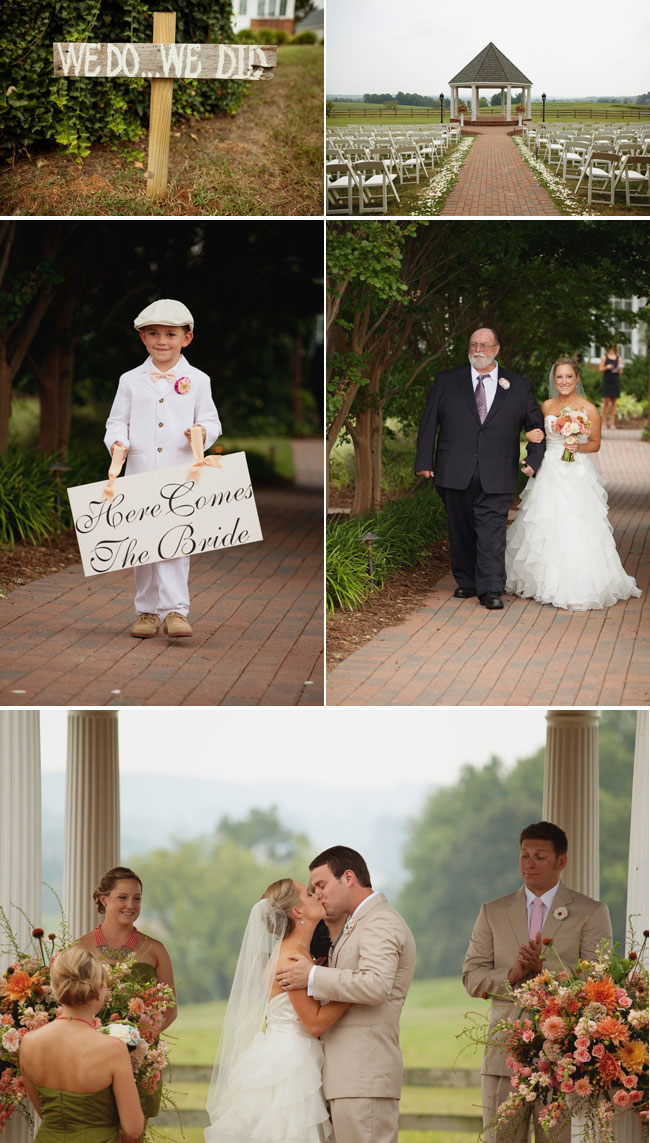 wedding ceremony at West Manor Estate with pageboy, father and bride, and kissing newlyweds