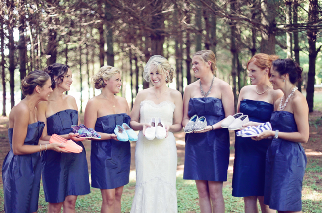 Bridal party hold Toms shoe collection
