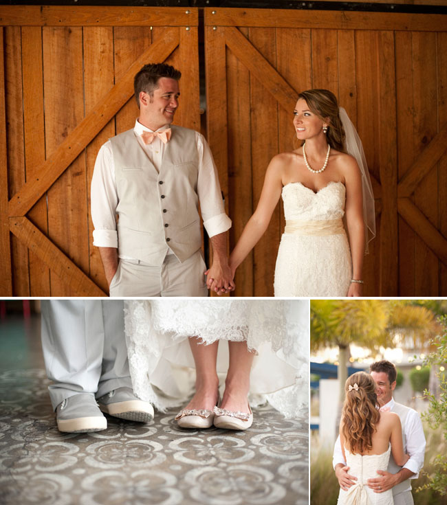 Bride in white dress and pearls holding hands with groom dressed in light gray vest, peach bowtie, and sneakers