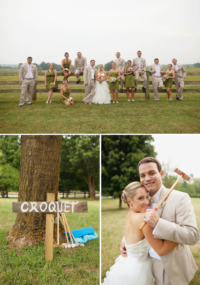 Bridal party sitting on fence railings; bride and groom play crouquet game