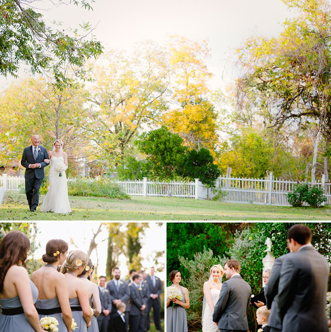 Outdoor wedding at Barr Mansion: father and bride; bridesmaids