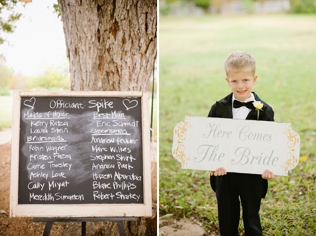 "chalkboard sign and boy with ""here comes the bride"" sign"