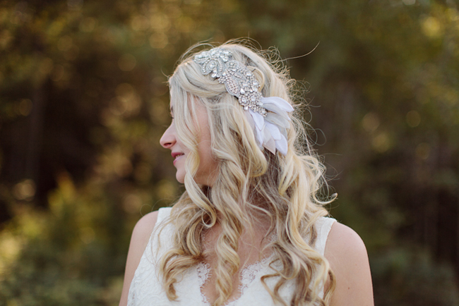 Bowen Island bride with crystal headpiece