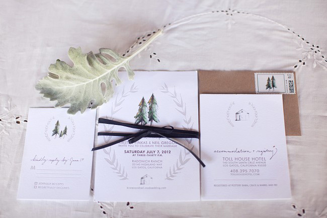 custom watercolor wedding invitation suite with rustic painted trees