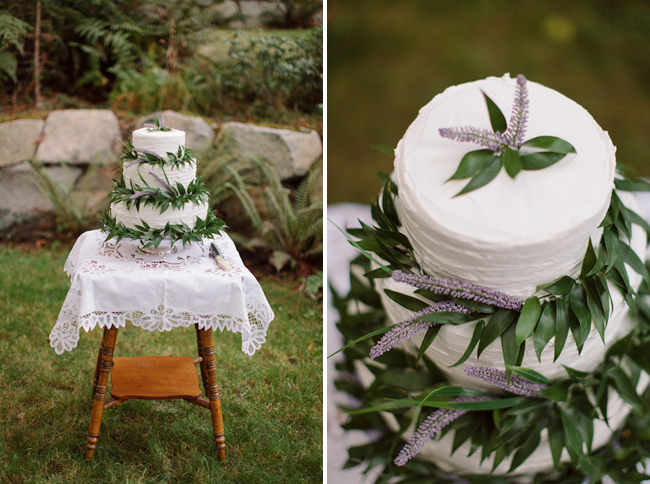 wedding cake with lavender sprigs and leaves adorning