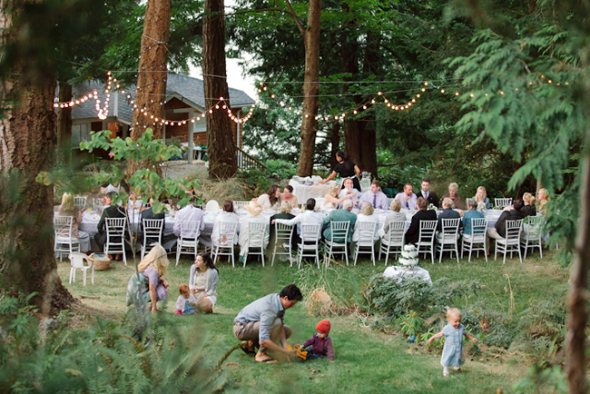 Intimate Bowen Island wedding reception in the woods
